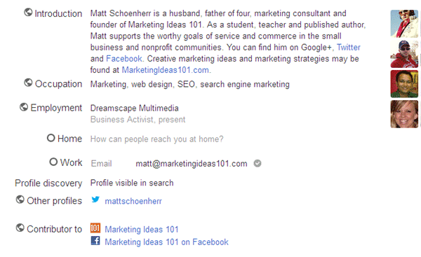 Marketing Ideas Google Plus Profile